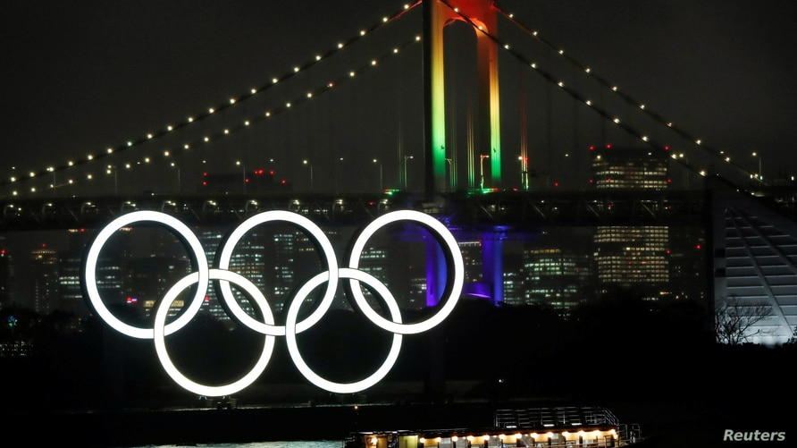 The Rainbow Bridge is illuminated with Olympic colours to mark 100 days countdown to the Tokyo 2020 Olympics that have been…