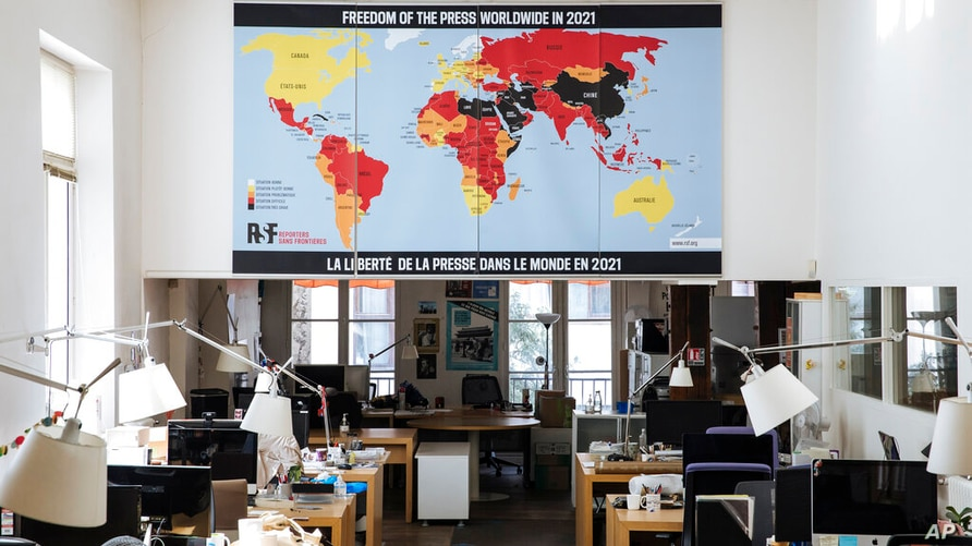 The RSF (Reporters Without Borders) 2021 map of press freedom in Paris, France, Tuesday April, 20, 2021. Reporters Without…