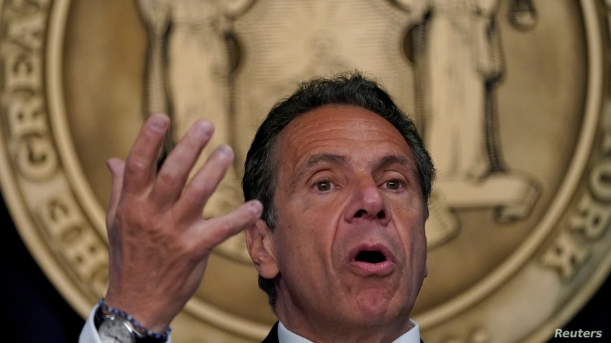 New York Governor Andrew Cuomo speaks during a news conference on the coronavirus disease (COVID-19) restrictions in New York…