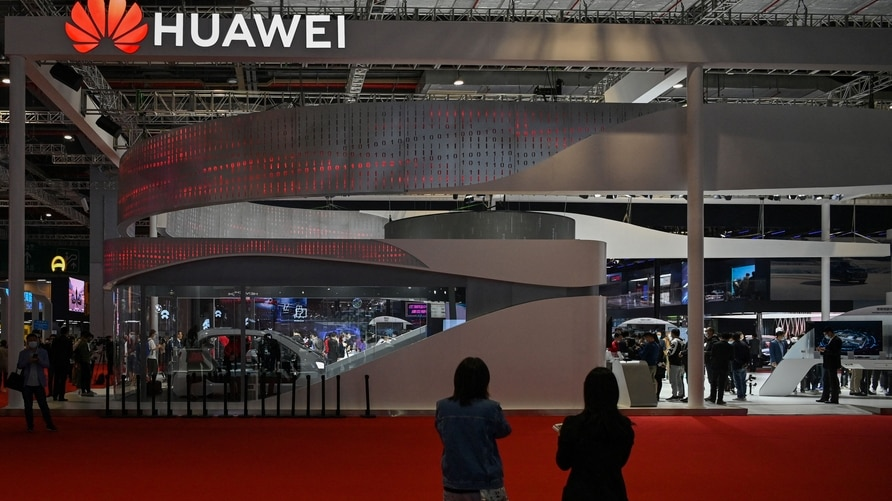 A Huawei stand is seen during the 19th Shanghai International Automobile Industry Exhibition in Shanghai on April 20, 2021 …
