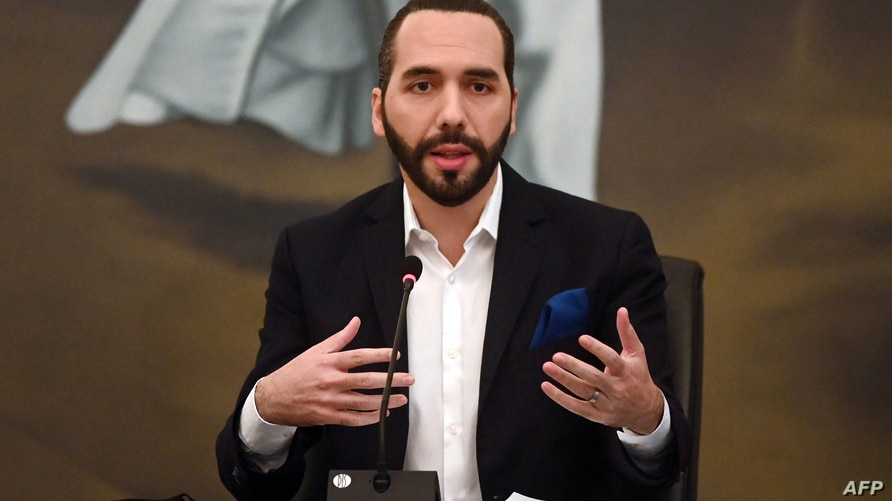 (FILES) In this file photo taken on February 22, 2021 Salvadoran President Nayib Bukele speaks during the beginning of the…