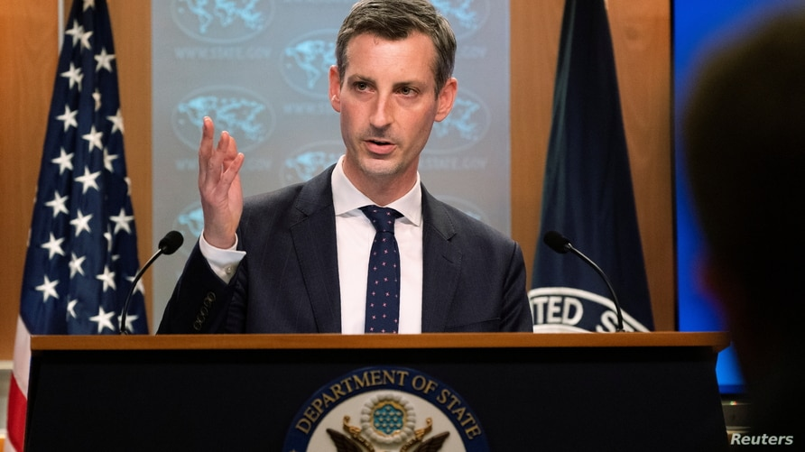 State Department spokesman Ned Price speaks during a news conference at the State Department in Washington, DC, U.S. February…