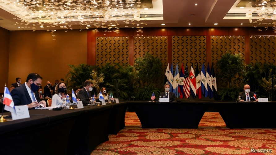 U.S. Secretary of State Antony Blinken attends a meeting with the foreign ministers of Mexico and Central American Integration…