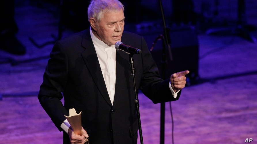 Tom T. Hall accepts the poet's award during the Academy of Country Music Honors show on Monday, Sept. 19, 2011, in Nashville,…