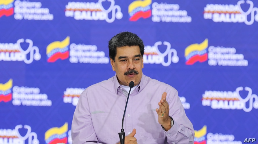 Handout picture released by Venezuelan Presidency showing Venezuela's President Nicolas Maduro speaking during a televised…