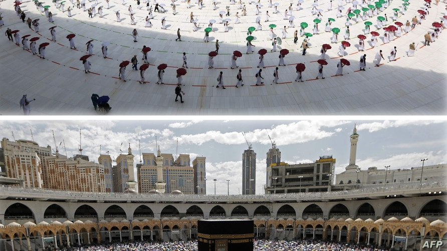 TOPSHOT - (COMBO) This combination of pictures shows Muslim pilgrims holding coloured umbrellas along matching coloured rings…