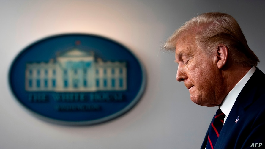 US President Donald Trump speaks during the press briefing at the White House in Washington, DC, on July 30, 2020. (Photo by…