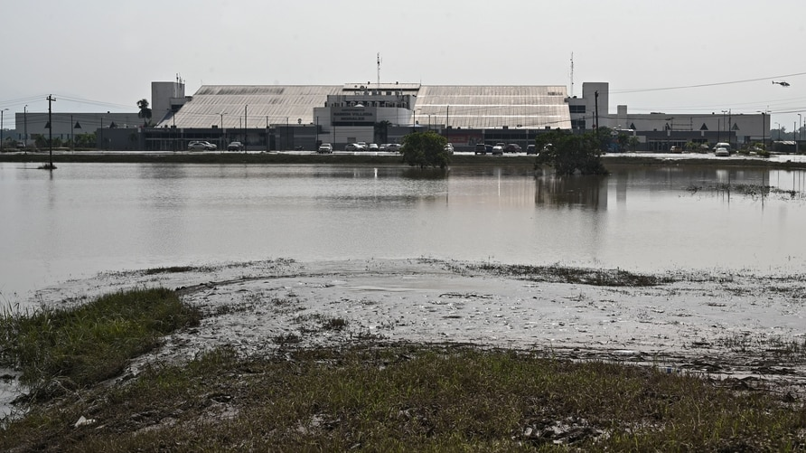 Picture of the flooding around the Ramon Villeda Morales International Airport in San Pedro Sula, 240 km from Tegucigalpa, seen…