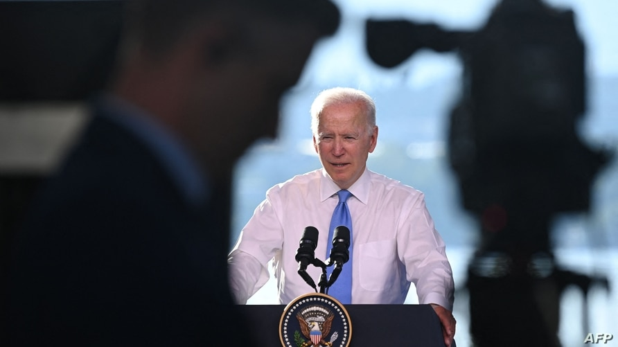 US President Joe Biden holds a press conference after the US-Russia summit in Geneva on June 16, 2021. (Photo by Brendan…