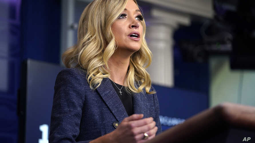 White House press secretary Kayleigh McEnany speaks during a press briefing at the White House, Tuesday, May 12, 2020, in…