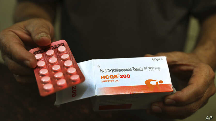 A chemist displays hydroxychloroquine tablets in New Delhi, India, Thursday, April 9, 2020. Amidst concerns over domestic…