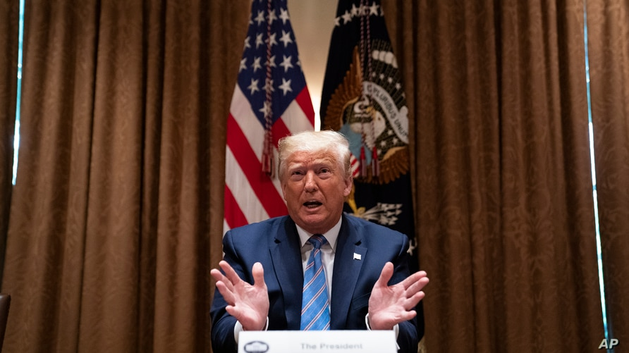 President Donald Trump speaks during a roundtable about America's seniors, in the Cabinet Room of the White House, Monday, June…