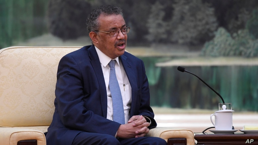 Tedros Adhanom, director general of the World Health Organization, left, speaks with Chinese President Xi Jinping before a…