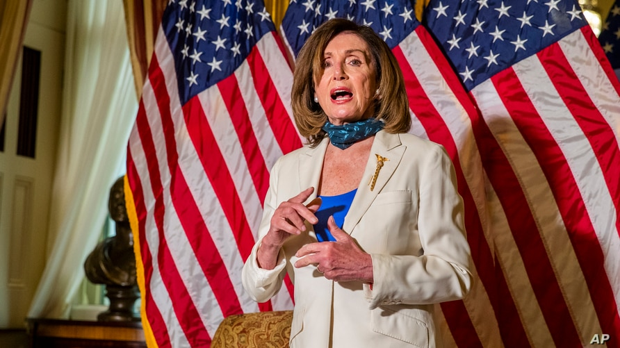 House Speaker Nancy Pelosi of Calif., speaks before signing the Uighur Human Rights Policy Act at the Capitol in Washington,…