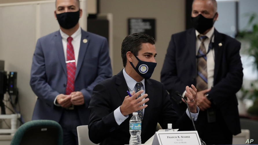 Miami Mayor Francis Suarez speaks during a roundtable discussion with Florida Gov. Ron DeSantis and Miami-Dade County mayors…