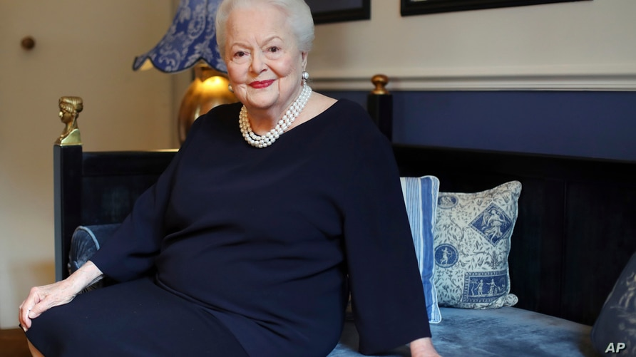 FILE - In this June 18, 2016 file photo, U.S. actress Olivia de Havilland poses during an Associated Press interview, in Paris…