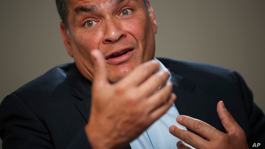 Former Ecuador President Rafael Correa answered questions during an interview with Associated Press in Brussels, Thursday, Oct…