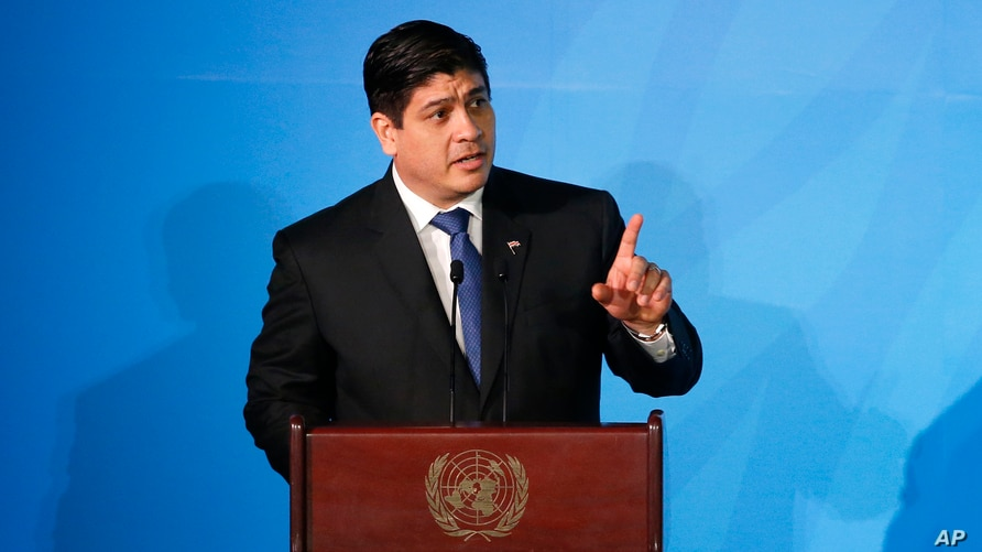 Costa Rica's President Carlos Alvarado Quesada addresses the Climate Action Summit in the United Nations General Assembly, at U…