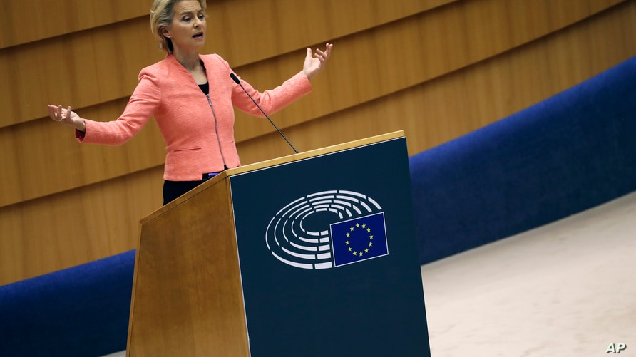 European Commission President Ursula von der Leyen addresses the plenary during her first State of the Union speech at the…
