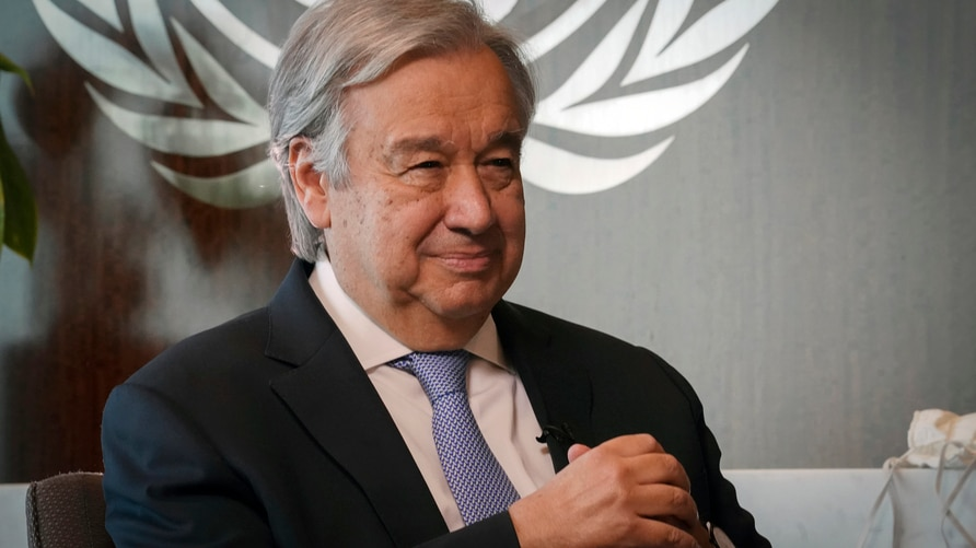 United Nations Secretary-General António Guterres listens during an interview, Wednesday Oct. 21, 2020, at U.N. headquarters. …