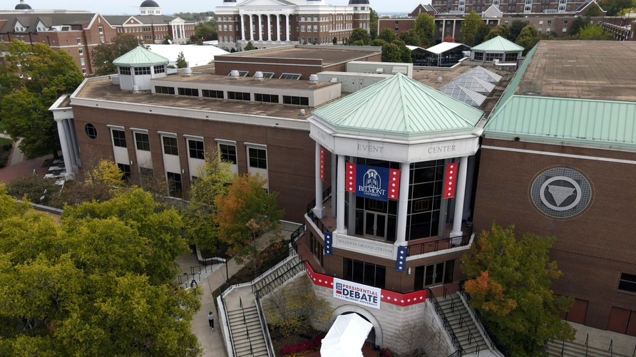 This aerial image shot with a drone shows Curb Event Center at Belmont University, the site of the final presidential debate…