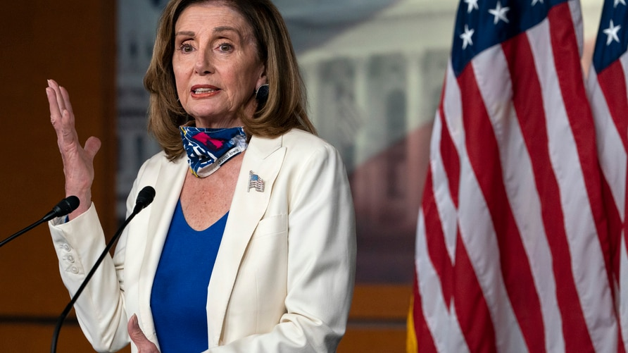 House Speaker Nancy Pelosi of Calif., speaks during a weekly news conference, Thursday, Oct. 1, 2020, on Capitol Hill in…