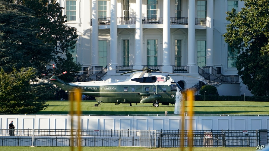 Marine One is shown on the White House South Lawn, Friday, Oct. 2, 2020, in Washington where the President will board for a…