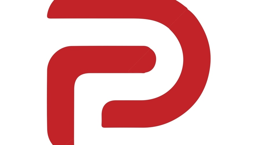 Parler logo, social networking and microblogging service, graphic element on white