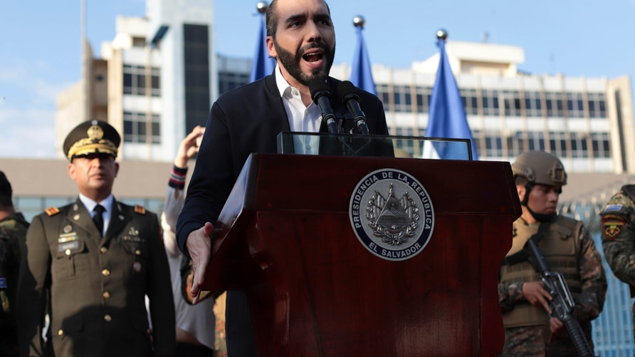 FILE - In this Feb. 9, 2020 file photo, El Salvador's President Nayib Bukele, accompanied by members of the armed forces,…