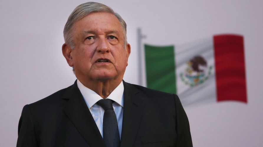Mexican President Andrés Manuel López Obrador stands during the commemoration of his second anniversary in office, at the…