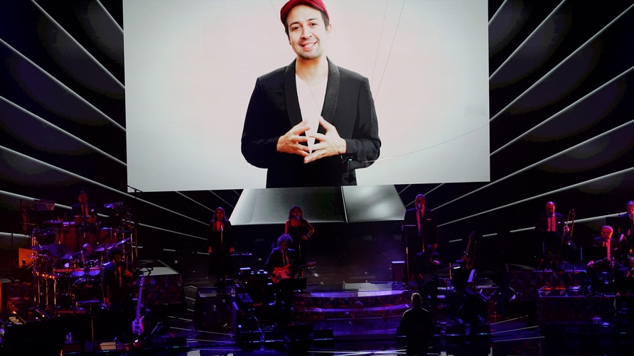 Lin-Manuel Miranda appears on screen at the 21st Latin Grammy Awards, airing on Thursday, Nov. 19, 2020, at American Airlines…