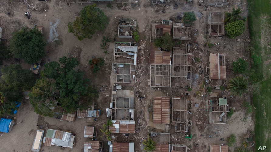 The shells of homes lay in ruins in La Samaritana village after last year's hurricanes Eta and Iota destroyed the area in La…