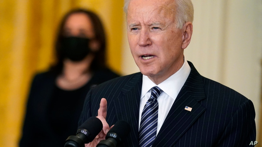 President Joe Biden speaks about COVID-19 vaccinations, from the East Room of the White House, Thursday, March 18, 2021, in…