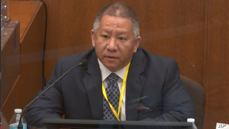 In this image from video, Minneapolis Police Crisis Intervention Coordinator Ker Yang testifies as Hennepin County Judge Peter…
