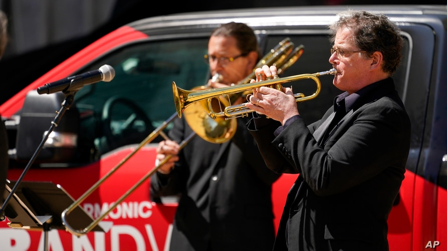 Members of the New York Philharmonic perform on the Lincoln Center campus as part of Restart Stages at Lincoln Center,…