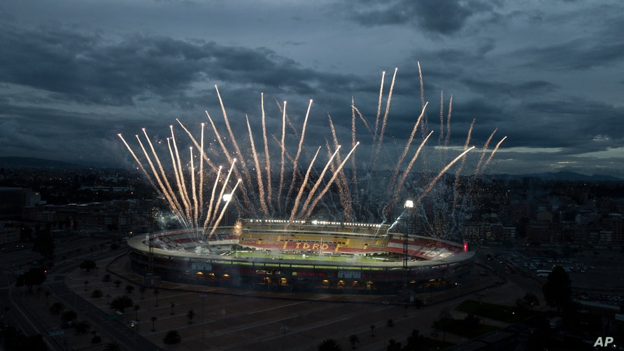 Fireworks are seen in this aerial view of the Nemesio Camacho Stadium for the final soccer match of the Colombian professional…