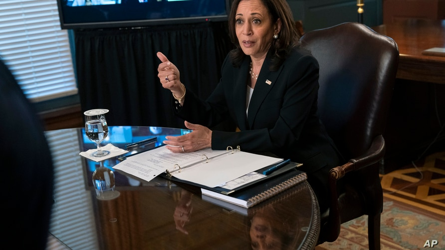 Vice President Kamala Harris attends a meeting with business CEO's about economic development in the Northern Triangle,…