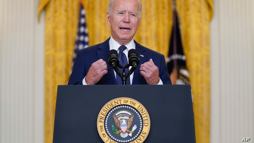 President Joe Biden speaks about the bombings at the Kabul airport that killed at least 12 U.S. service members, from the East…
