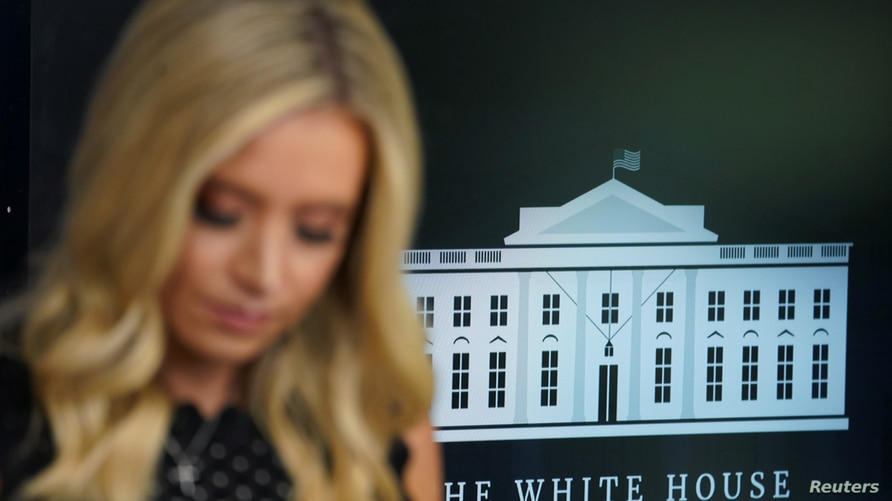 Kayleigh McEnany speaks at the White House in Washington