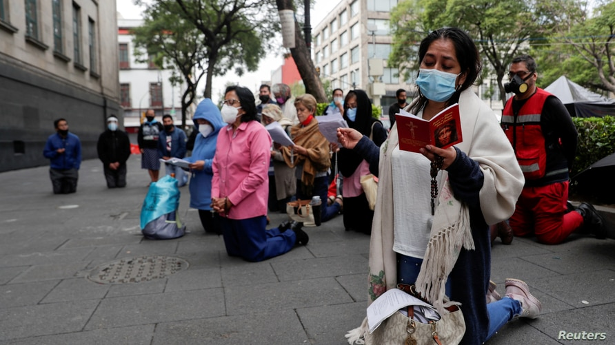 Activists against abortion protest outside Mexico's Supreme Court building in Mexico City