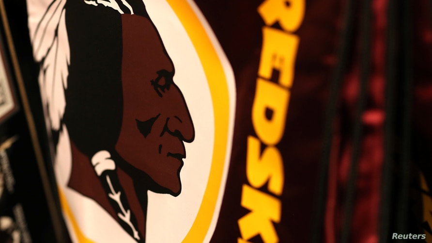 Washington Redskins branded merchandise sits on display in a sports store in Virginia