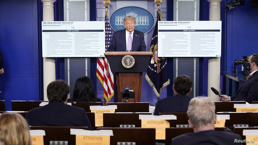 U.S. President Trump holds a COVID-19 pandemic briefing at the White House in Washington