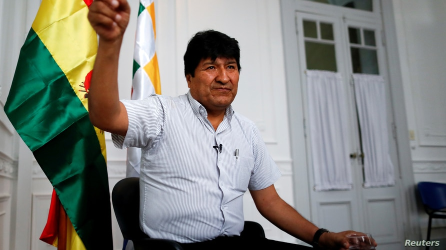 FILE PHOTO: Former Bolivian President Evo Morales gestures during an interview with Reuters, in Buenos Aires