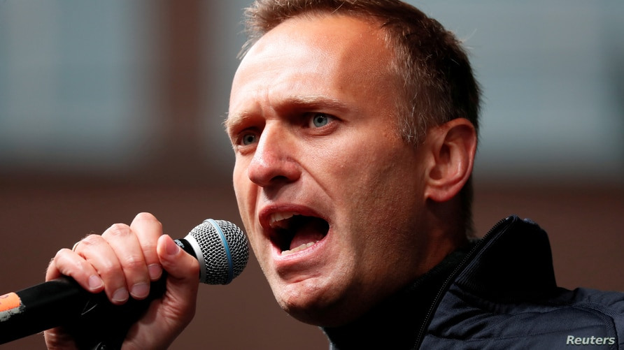 FILE PHOTO: Russian opposition leader Navalny attends a rally to demand the release of jailed protesters in Moscow