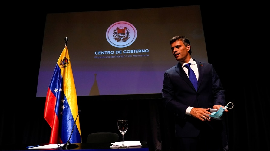 Venezuelan opposition politician Leopoldo Lopez holds a news conference in Madrid