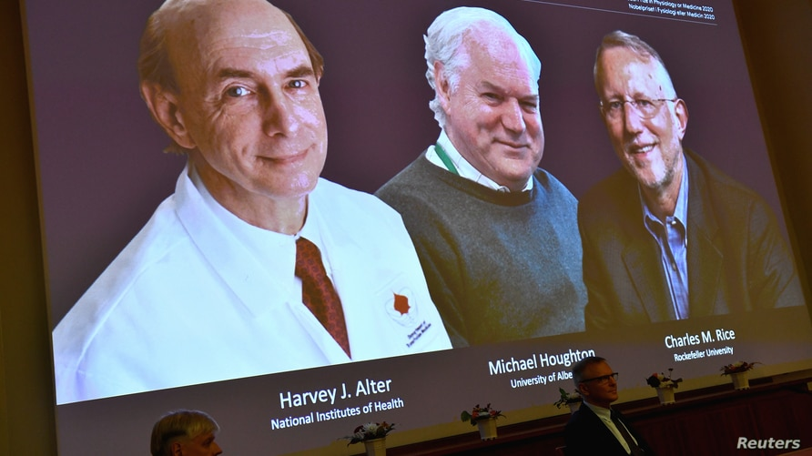 Harvey J. Alter, Michael Houghton and Charles M. Rice, are seen on a screen as the three laureates as they are announced as the winners of the 2020 Nobel Prize in Physiology or Medicine during a news conference at the Karolinska Institute in Stockholm