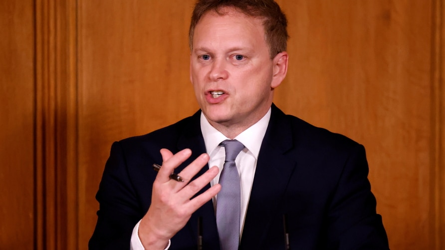 Britain's Transport Secretary Grant Shapps speaks during a virtual news conference in London