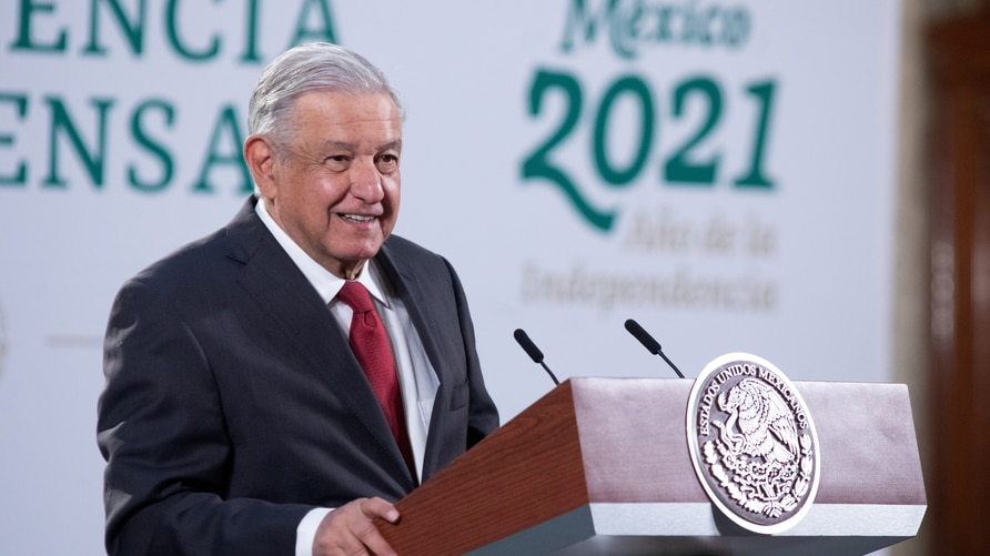 Mexico's President Andres Manuel Lopez Obrador holds a news conference, at the National Palace in Mexico City