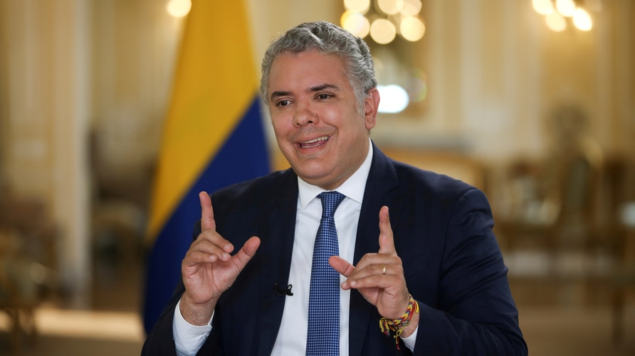 FILE PHOTO: Colombia's President Ivan Duque speaks during an interview with Reuters in Bogota