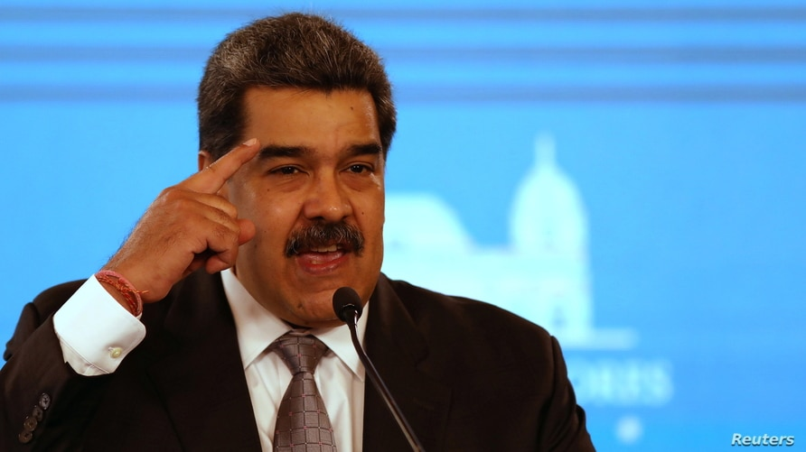 Venezuela's Maduro speaks during a news conference in Caracas
